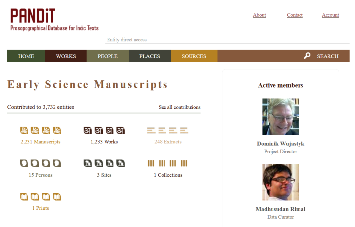 Pandit project Early Science Manuscripts